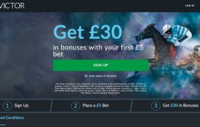 Screenshot of the BetVictor offer